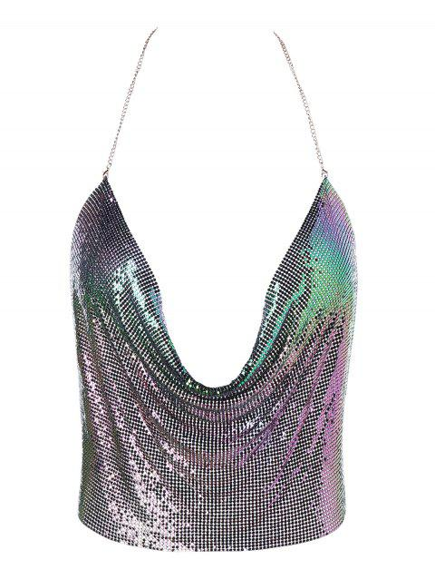 Lingerie Club Glitter Halter Crop Top - COLORFUL ONE SIZE
