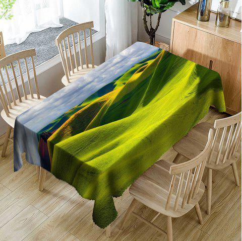 Grassland Landscape Pattern Waterproof Table Cloth - BRIGHT GREEN W54 INCH * L72 INCH