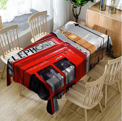 Phone Booth Big Ben Pattern Table Cloth - COLORMIX W60 INCH * L84 INCH