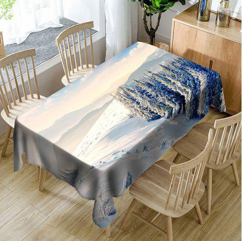 Snow Hills Trees Print Waterproof Table Cloth - WHITE W54 INCH * L54 INCH