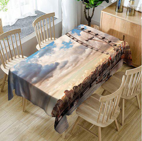 London Eye Print Waterproof Table Cloth - COLORMIX W54 INCH * L72 INCH