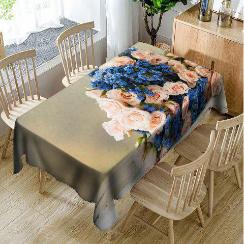 Flowers Print Waterproof Table Cloth - COLORMIX W54 INCH * L72 INCH