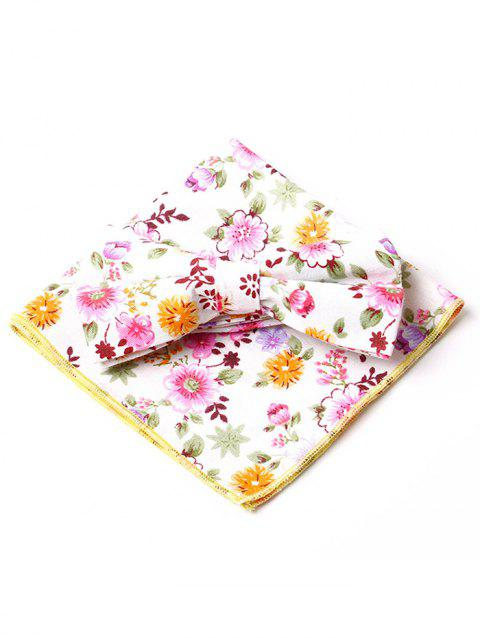 Floral Pattern Bow Tie Squared Handkerchief Set - YELLOW