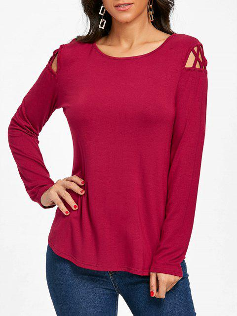 Cut Out Long Sleeve Top - BURGUNDY L