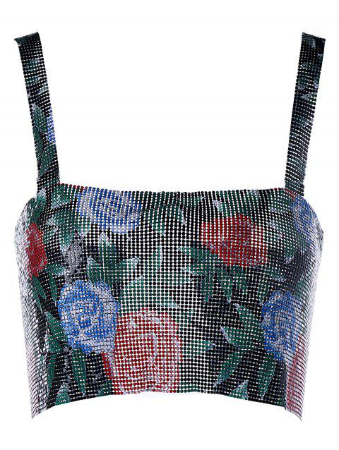 Metallic Floral Pattern Crop Tank Top - COLORMIX ONE SIZE