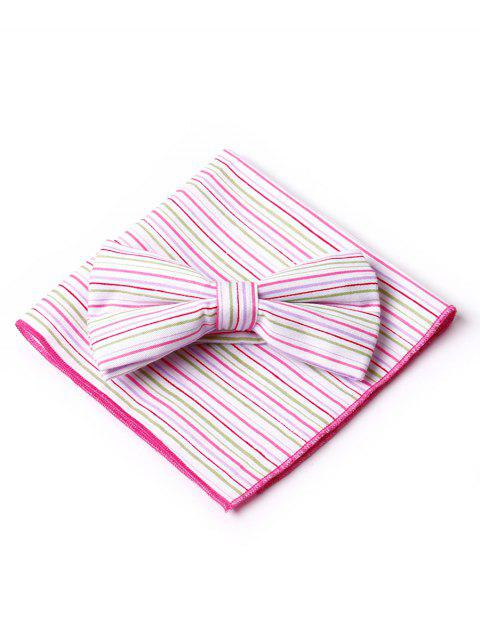 Striped Pattern Bow Tie Squared Handkerchief  Set - PINK
