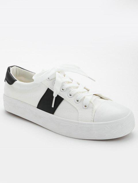 Casual Color Blocking Skate Shoes - BLACK WHITE 36