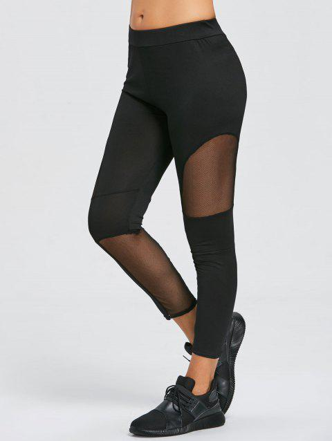 Mesh Insert Ninth Workout Leggings - BLACK M
