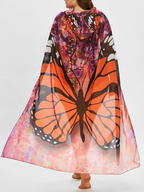 Plus Size Sheer Butterfly Print Beach Cover Up - ORANGE RED ONE SIZE