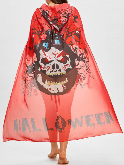Plus Size Sheer Skull Print Cover Up - RED ONE SIZE