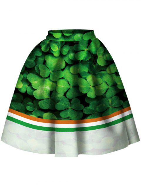 Striped Leaf Print Skirt - GREEN L