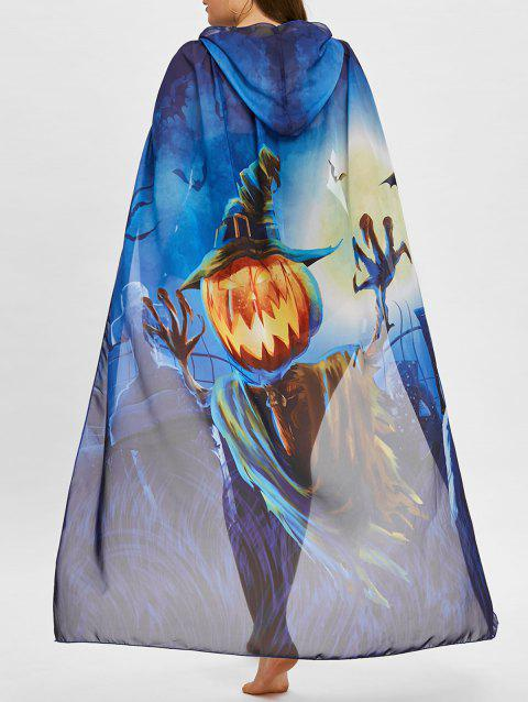 Ombre Pumpkin Print Plus Size Sheer Cover Up - BLUE ONE SIZE