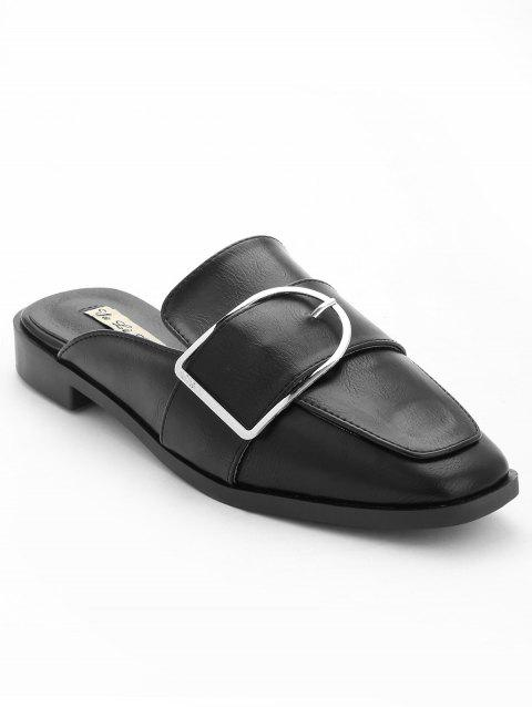 Buckled PU Leather Mules Shoes - BLACK 38
