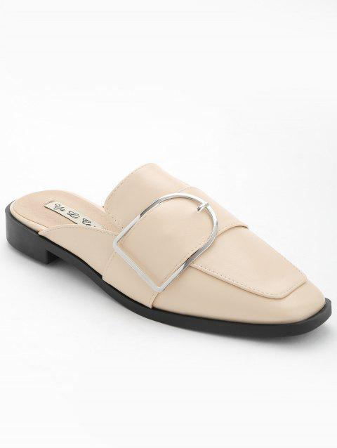 Buckled PU Leather Mules Shoes - APRICOT 38