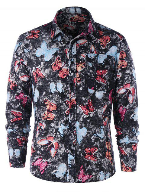 One Pocket Butterfly Print Shirt - COLORMIX L