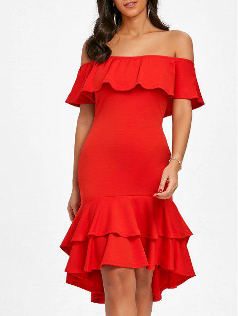 Off The Shoulder Ruffle Bodycon Dress - RED M