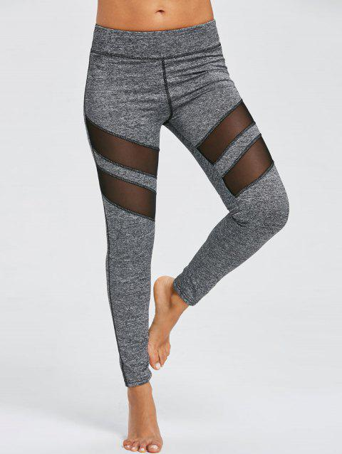 Leggings Sports à Empiècement Maille Chiné - Gris M