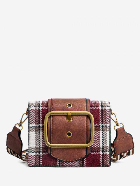 Plaid Shoulder Bag with Printing Straps - RED