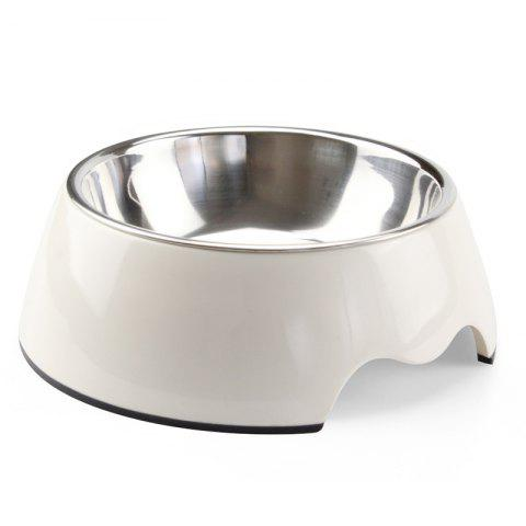 Non-toxic Melamine Double Layer Pet Food Water Bowl - WHITE S