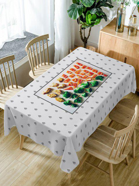 Foods and Water Drop Pattern Waterproof Table Cloth - COLORMIX W54 INCH * L72 INCH