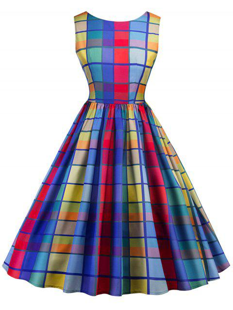 Vintage Checked Midi A Line Dress - COLORFUL 2XL