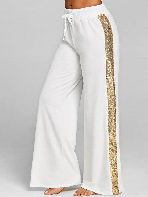 High Waist Sequin Wide Leg Pants - WHITE L