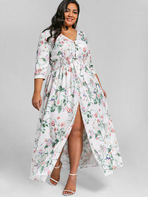 Plus Size Floral Front Slit Floor Length Dress - FLORAL 4XL