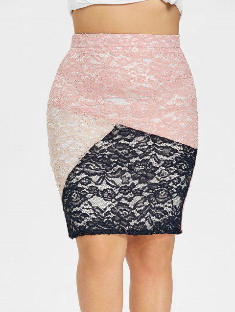 Plus Size Color Block Lace Fitted Skirt - COLORMIX XL