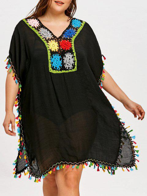 Shift Plus Size Tassel Cover Up Dress - BLACK ONE SIZE