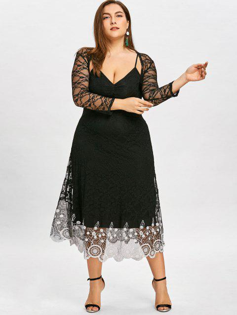 67% OFF] 2019 Plus Size Sheer Lace Slip Dress With Capelet In BLACK ...