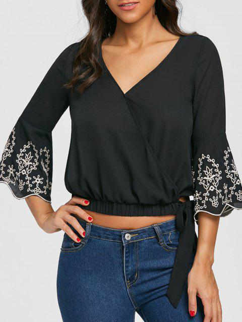 Embroidery V Neck Flare Sleeve Blouse
