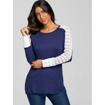 Mesh Insert Long Sleeve T-shirt - BLUE M