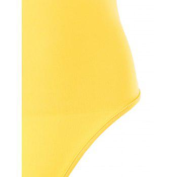 Metallic Chain Embellished Lingerie Plunge Bodysuit - YELLOW S