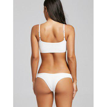 Ribbed Thong Cami Strap Bikini - WHITE XL