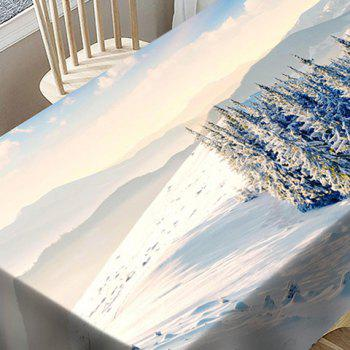 Snow Hills Trees Print Waterproof Table Cloth - WHITE W54 INCH * L72 INCH