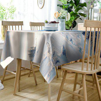 Snow Hills Trees Print Waterproof Table Cloth - WHITE W60 INCH * L84 INCH
