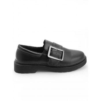 Buckle Strap PU Leather Loafers - BLACK 35