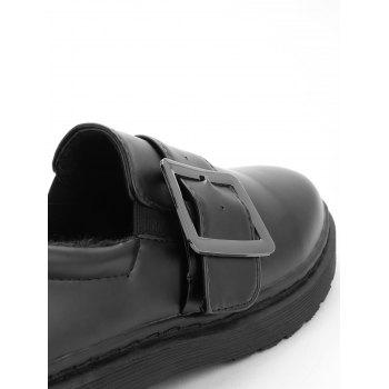 Buckle Strap PU Leather Loafers - BLACK 36