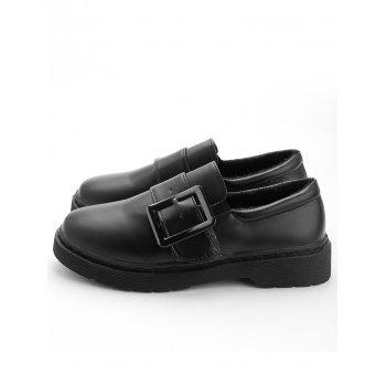 Buckle Strap PU Leather Loafers - BLACK 38