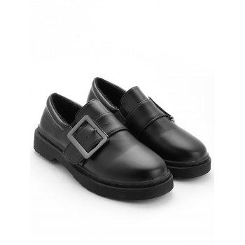 Buckle Strap PU Leather Loafers - BLACK 39