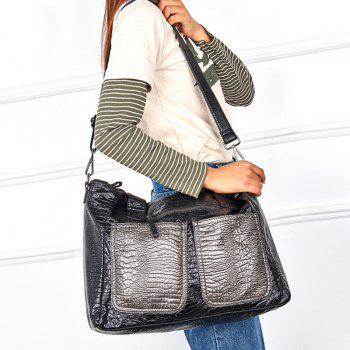 Embossed Color Block Shoulder Bag - BLACK
