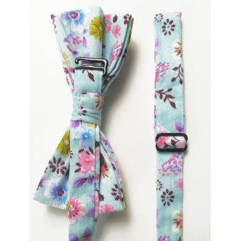 Floral Pattern Bow Tie Squared Handkerchief Set - BLUE
