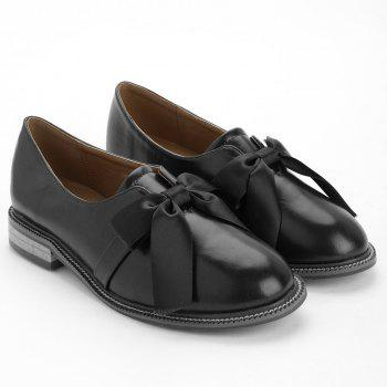Bow Round Toe Slip-on Loafers - BLACK 39
