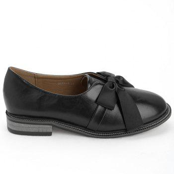 Bow Round Toe Slip-on Loafers - BLACK 37