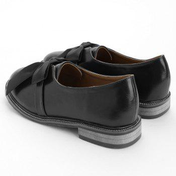 Bow Round Toe Slip-on Loafers - BLACK 38