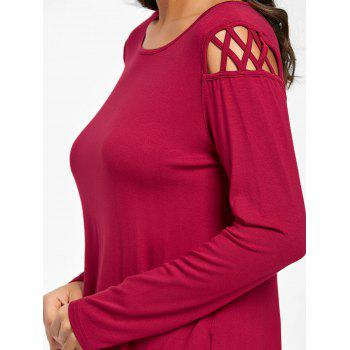 Cut Out Long Sleeve Top - BURGUNDY 2XL