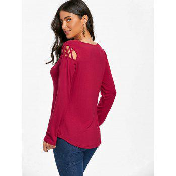 Cut Out Long Sleeve Top - BURGUNDY M