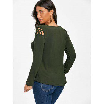Cut Out Long Sleeve Top - ARMY GREEN XL