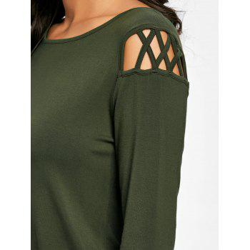 Cut Out Long Sleeve Top - ARMY GREEN M