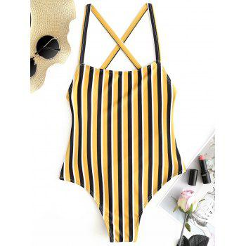 """<P>Stripe Low Back High Cut Swimsuit</P><I Class=""""Icon Down Js Tap Up Down""""></I> by Dress Lily"""